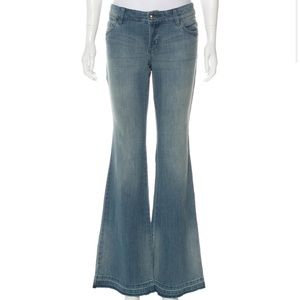 Michael Kors Raw Hem Wide Leg Low Rise Jeans